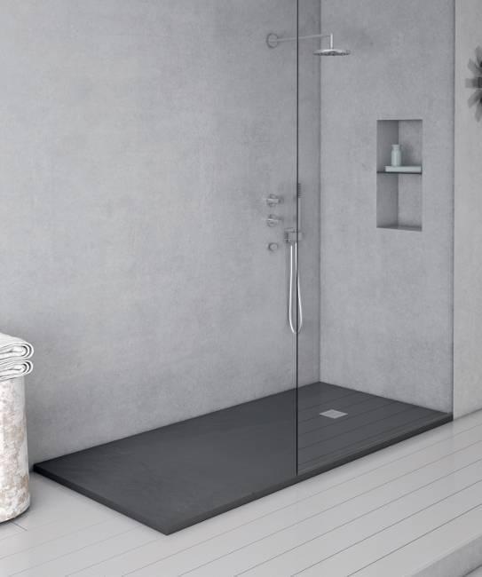 Pizarra platos de ducha en resina y cargas minerales - Plato de ducha negro ...